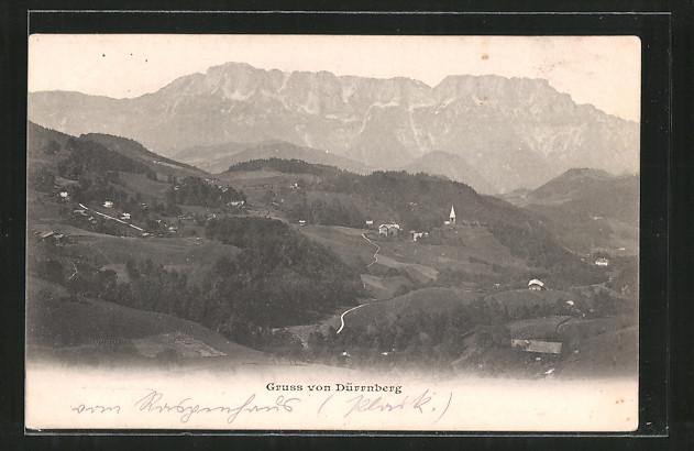 AK Dürrnberg, Ortspanorama mit Gebirge