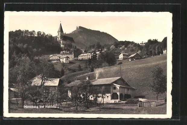 AK Dürrnberg, Ortsansicht mit Kirche