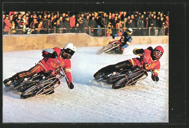 AK Ice Racing, Alexander Cherbakov und Vladimir Chapala bei Eisrennen, Motorradrennen