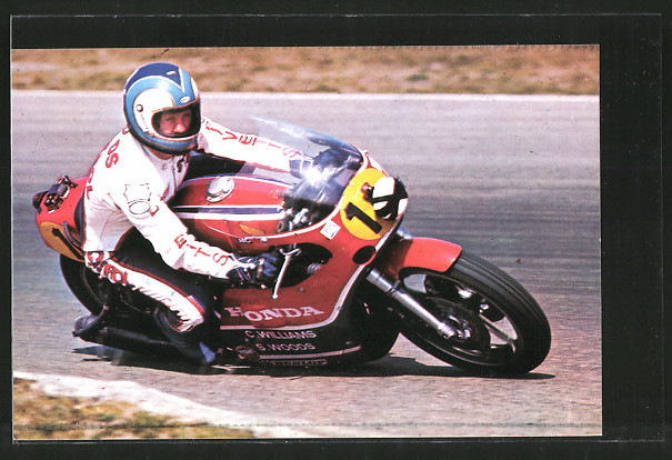 AK Road Racing, Rennfahrer Stan Woods auf seiner Honda, Motorrad