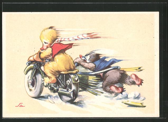 Künstler-AK Entlein und Maulwurf rasen auf Motorrad mit Seitenwagen
