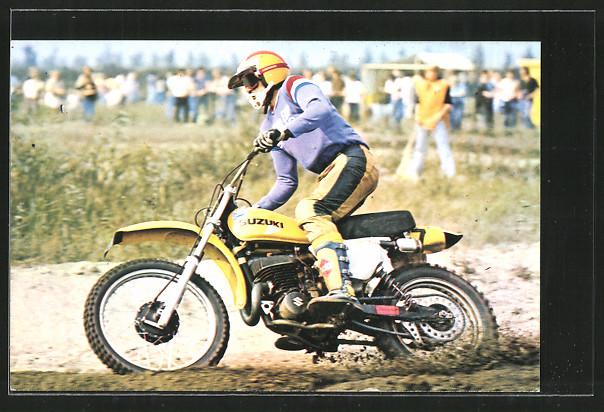 AK Motocross, Gerrit Wolsink in Kurve auf Suzuki, Motorrad
