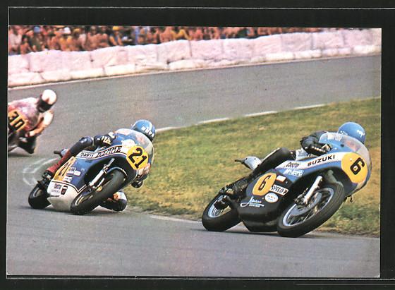 AK Road racing, Motorrennen, Jack Findlay auf Suzuki vor Stuart Avant und John Williams, Motorrad