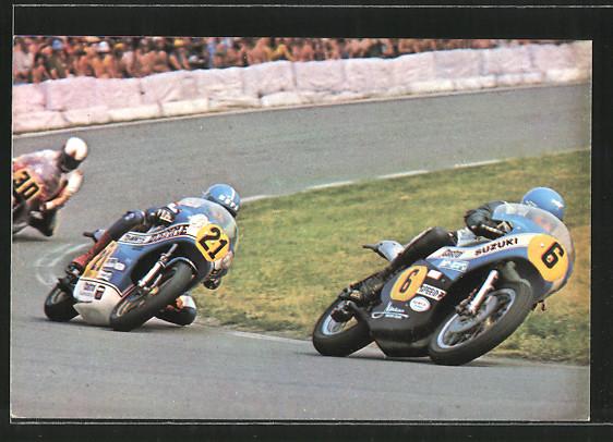 AK Road racing, Motorradrennen, Jack Findlay auf Suzuki vor Stuart Avant und John Williams