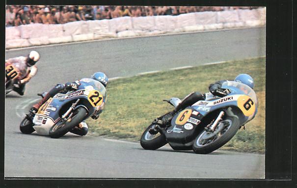 AK Road racing, Jack Findlay auf Suzuki vor Stuart Avant und John Williams, Motorradrennen