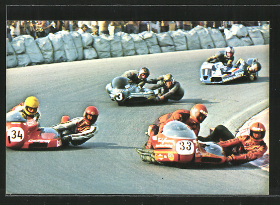 AK Road racing, Motorrennen, Ted Janssen & Erich Smitz vor Walter Ohrmann & Bernd Grube und Jeep Geers & Jan van Veen