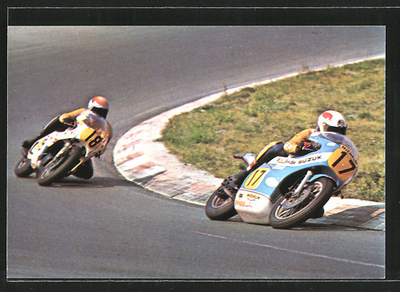 AK Road racing, Motorradrennen, Marcel Ankoné auf Suzuki und Rob Bron in Kurve, Motorrad