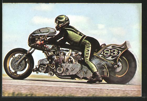 AK Dragsters, Sprintmaschinen, Rekordfahrer Henk Vink auf Kawasaki Big Spender, Motorrad