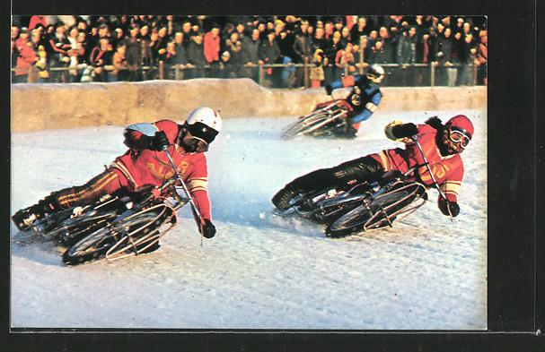 AK Ice Racing, Eis-Speedway, Alexander Cherbakov und Vladimir Chapale in Kurve, Motorradrennen