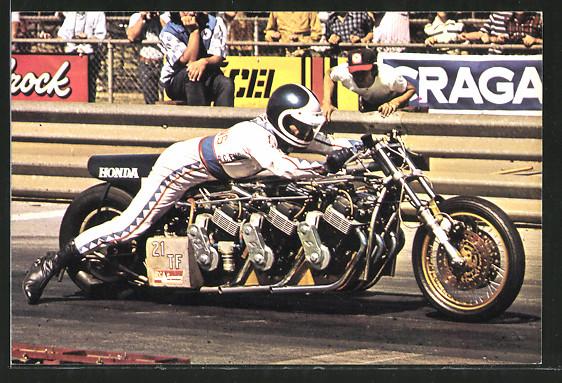 AK Dragsters, Sprintmaschinen, Russ Collins auf seiner Honda bei Rekordversuch