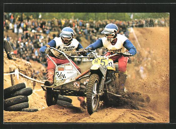 AK Motocross, Ton van Heugten und Dick Steenbergen in Seitenwagen, Motorradrennen