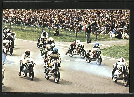 AK Road racing, Start von Motorradrennen, Bianchini vor Anderson, Lazzarini und Huberts
