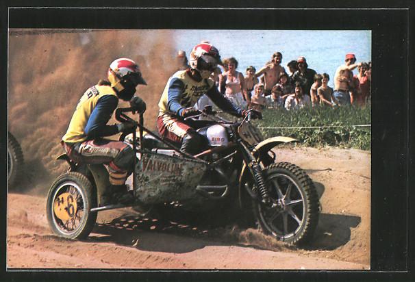 AK Motocross, Seitenwagenrennen, Cor den Biggelaar mit Cor von der Bijl, Motorrad