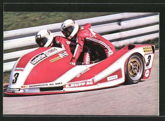 AK Road racing, Motorradrennen, Rolf Biland und Ken Williams auf Yamaha, Seitenwagenrennen