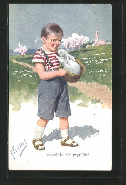 Künstler-AK Karl Feiertag: Herzliche Ostergrüsse! Junge mit Hasen im Korb
