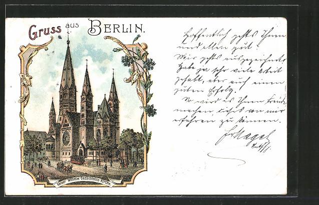 Lithographie Berlin-Charlottenburg, Kaiser Wilhelm Gedächtnis-Kirche
