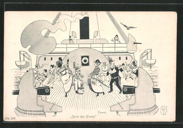 Künstler-AK sign. F. Horsky: Serie des Graces, Tanz auf dem Deck eines Passagierschiffes