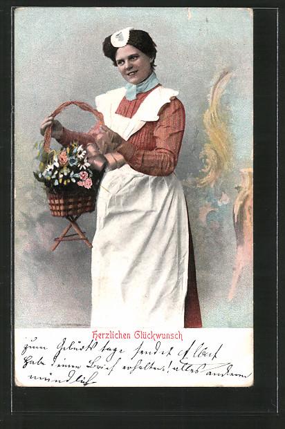 AK Herzlichen Glückwunsch, Dienstmädchen mit Blumen