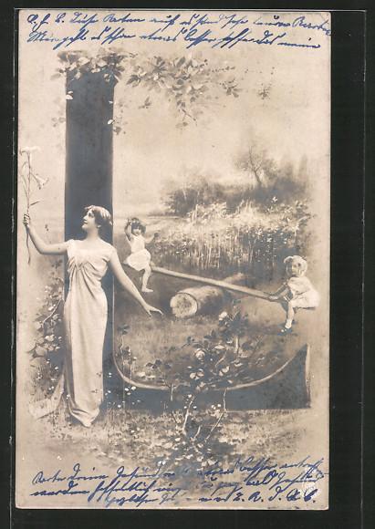 AK Buchstabe L, zwei Kinder sitzen auf der Wippe