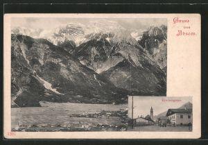 AK Absam, Gesamtansicht mit Bergpanorama, Kirchengasse