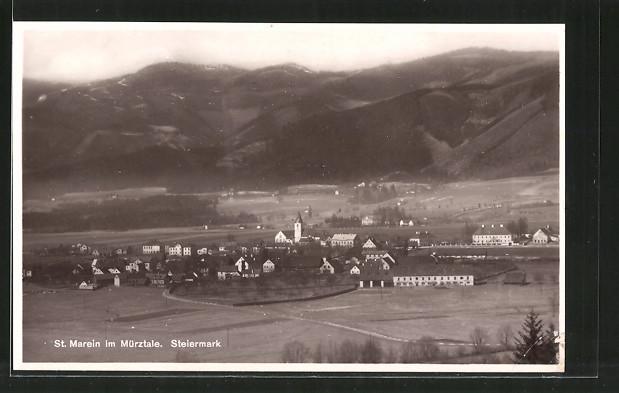 AK St. Marein i. Mürztale, Fernsicht der Ortschaft