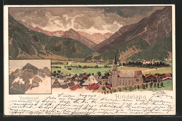 Künstler-Lithographie Otto Strützel: Hindelang, Ortsansicht mit Gebirgspanorama, Hochvogel