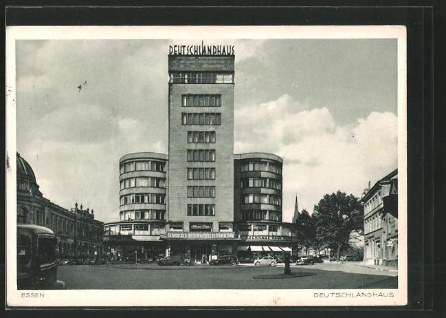 Ak Essen Strassenpartie Am Deutschlandhaus Bauhaus Nr