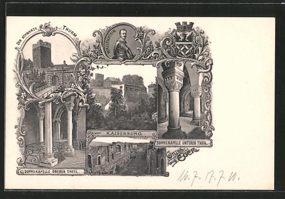 AK Eger, Schwarzer Turm, Kaiserburg, unterer u. oberer Teil der Doppelkapelle, Wallenstein