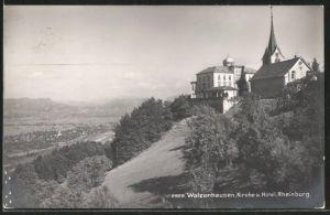 AK Walzenhausen, Kirche & Hotel Rheinburg
