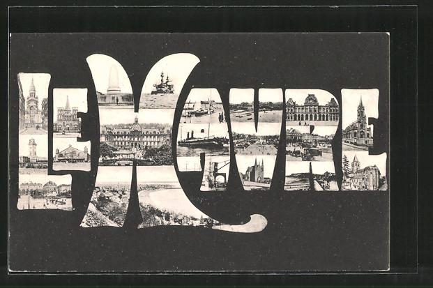 AK Le-Havre, l'hôtel-de-Ville, la gare et le port