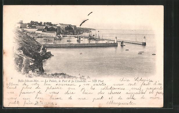 AK Belle-Isle-en-Mer, le palais, le port et la citadelle