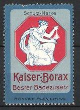 Reklamemarke Ulm, Kaiser Borax Badezusatz, Heinrich Mack, Frau mit Schale Borax