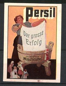 Reklamemarke Persil Waschmittel, Hausfrau mit Waschzuber beim waschen der Wäsche