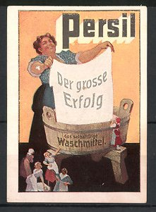 Reklamemarke Persil Waschmittel, Hausfrau am Waschzuber beim Wäsche waschen
