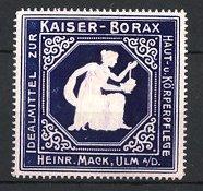 Präge-Reklamemarke Ulm, Kaiser Borax, Heinrich Mack, Frau mit Schale Borax, lila