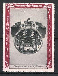 Reklamemarke Kaiserliche Marine, Seemanns-Erholungsheim, U-Boot Maschinenraum, Unterseeboot