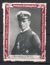 Reklamemarke Kaiserliche Marine, Seemanns-Erholungsheim, Portrait Kapitänleutnant Weddigen