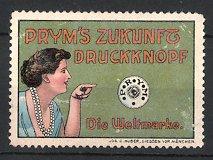 Reklamemarke Prym's Zukunft Druckknopf, Frau mit Perlenkette deutet auf Druckknopf