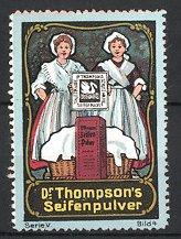 Reklamemarke Dr. Thompson's Seifenpulver, Dienstmädchen mit Korb voller Weisswäsche