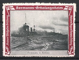 Reklamemarke Kaiserliche Marine, Seemanns-Erholungsheim, Kriegsschiff-Geschwader in Kiellinie
