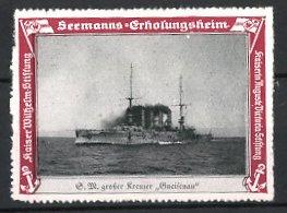 Reklamemarke Kaiserliche Marine, Seemanns-Erholungsheim, S.M. grosser Kreuzer Gneisenau, Kriegsschiff