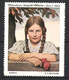 Künstler-Reklamemarke L. v. Zumbusch, Münchner-Jugend-Marke, Portrait Mädchen mit Zöpfen