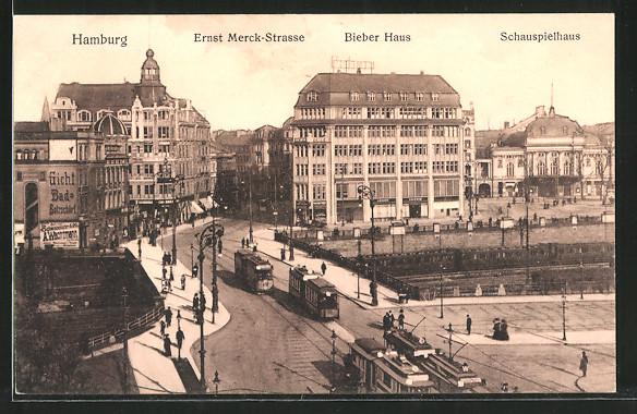 AK Hamburg-St.Georg, Strassenbahn in der Ernst Merck-Strasse, Bieberhaus, Schauspielhaus
