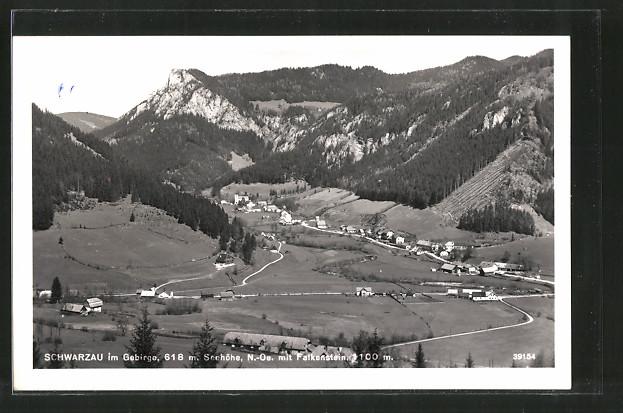 AK Schwarzau i. Gebirge, Ortsansicht mit Falkenstein