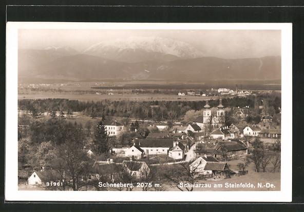 AK Schwarzau a. Steinfelde, Panorama mit Blick zum Schneeberg