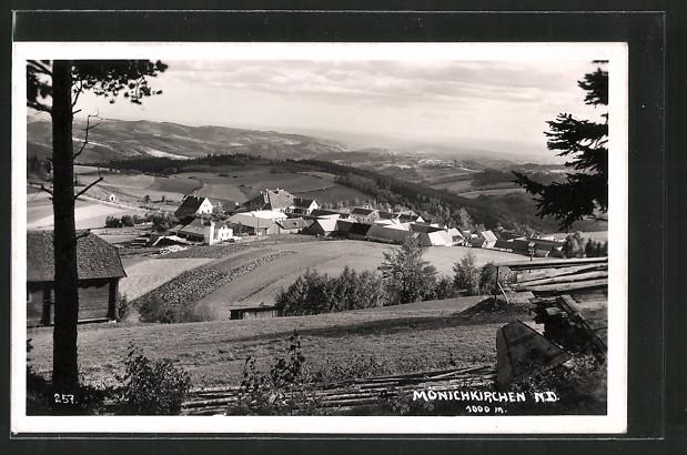 AK Mönichkirchen, Totalansicht aus der Vogelschau