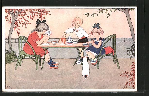 Künstler-AK Franz Jüchtzer: Jugend von heute, Kinder bei Tee und Kuchen