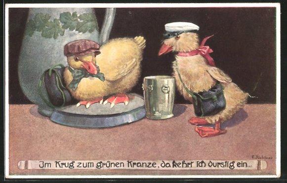 Künstler-AK Franz Jüchtzer: vermenschlichte Entenküken kehren durstig im Gasthaus ein