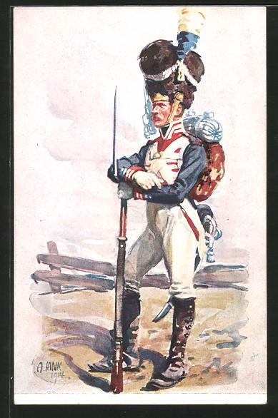 Künstler-AK Angelo Jank: 100 Jahrfeier d. K. B. Infanterie-Leibregiment 1914, Grenadier in Uniform mit Gewehr