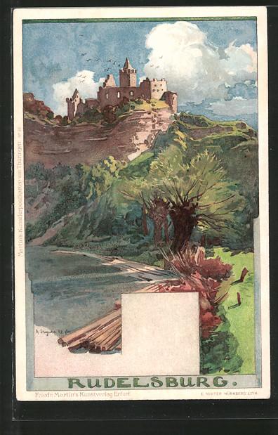 Künstler-Lithographie Albert Stagura: Rudelsburg